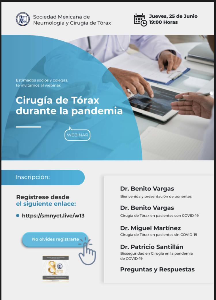 Webinar SMNyCT: Cirugía de Tórax durante la pandemia