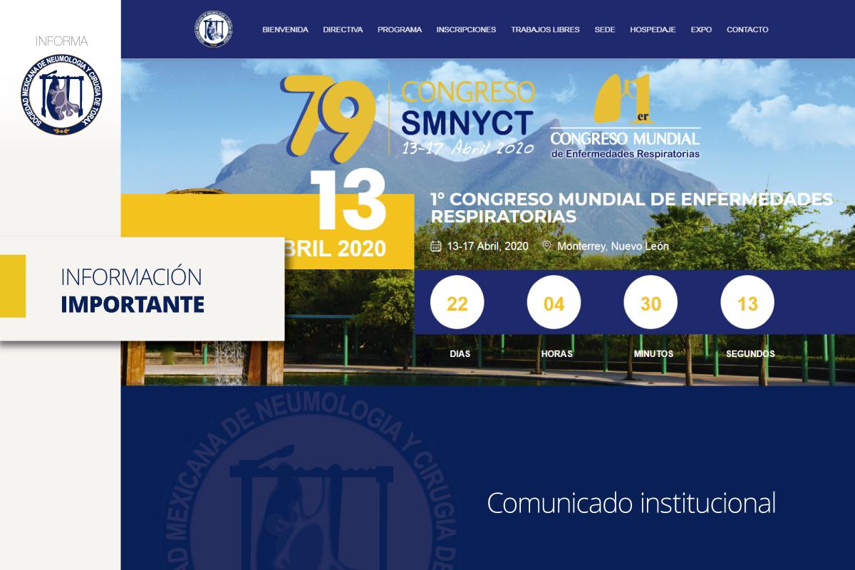Comunicado Oficial sobre la postergación del 79º Congreso de la SMNyCT