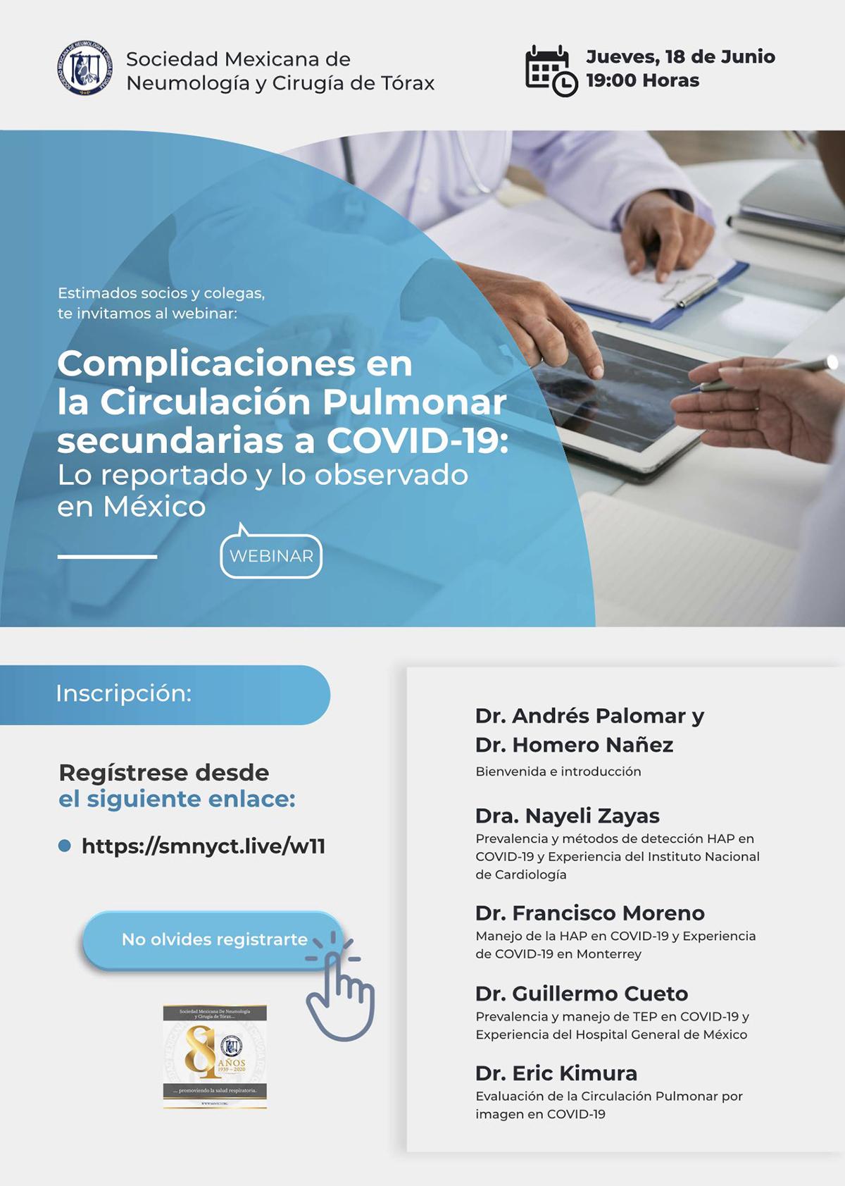 Webinar: Complicaciones en la Circulación Pulmonar secundarias a COVID-19: lo reportado y lo observado en México